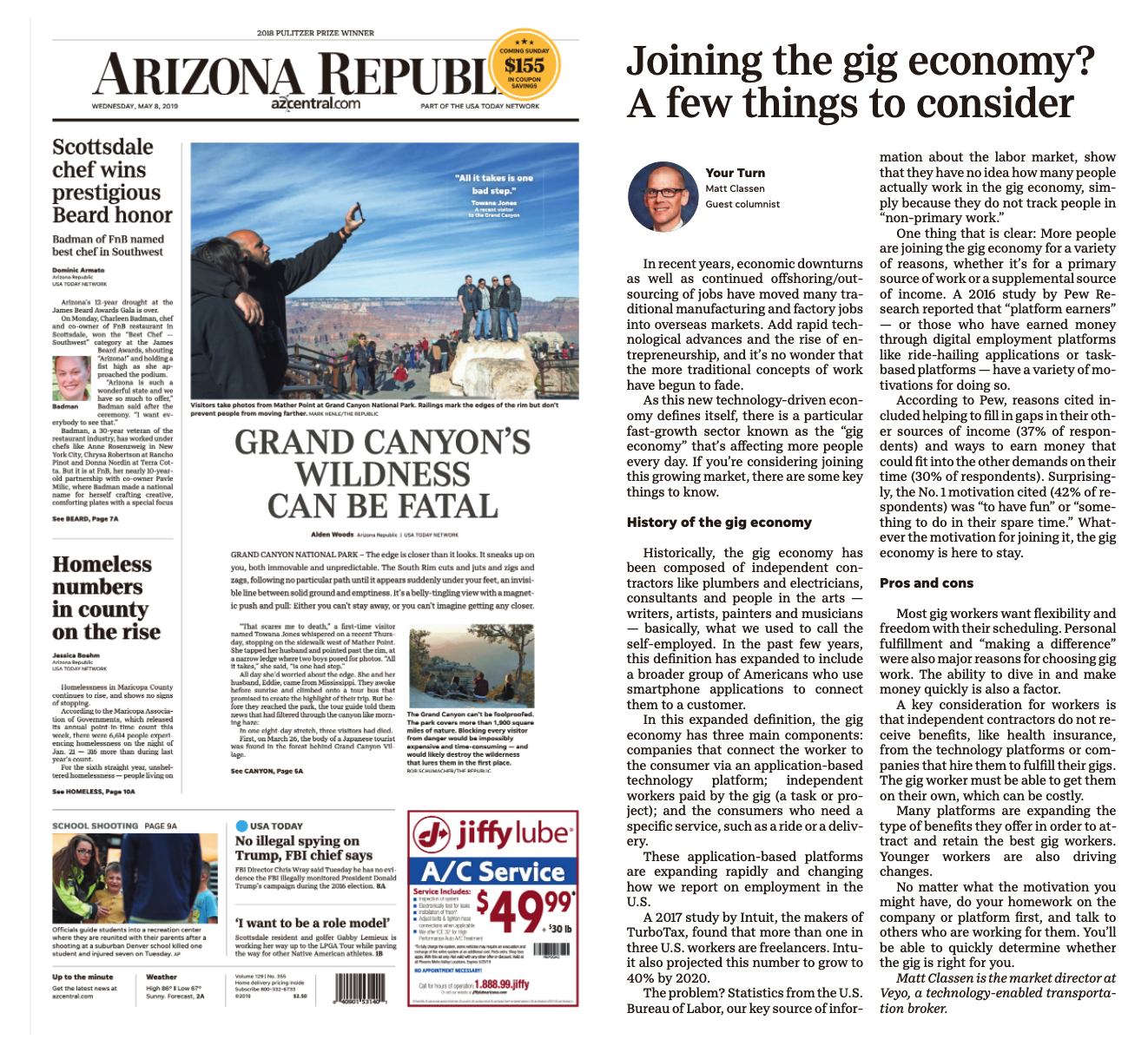 Veyo highlighted in the Arizona Republic
